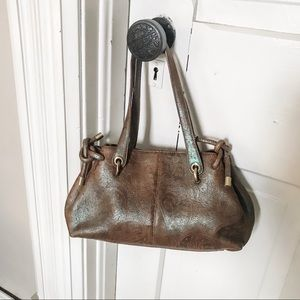 Brown Leather & Metallic Embossed Satchel-EUC!